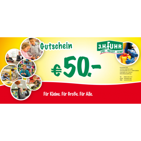 50€ Geschenkgutschein für unser Geschäft Fuhr Gießen