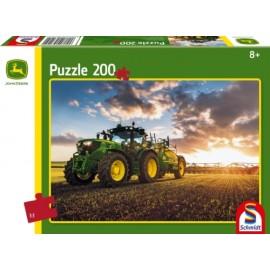 Schmidt Spiele - Puzzle - John Deere - Traktor 6150R mit Güllefass, 200 Teile