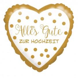 Standard Alles Gute zur Hochzeit, goldene Punkte Folienballon Rund, S40, verpackt, 43cm